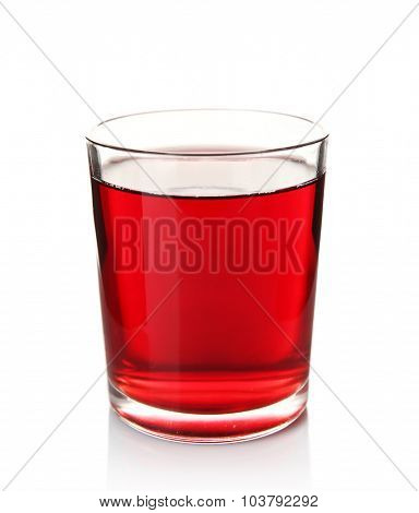 Glass of grape juice isolated on white