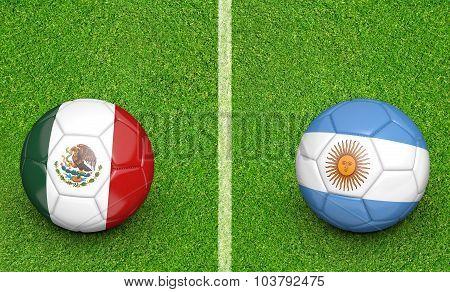 Team balls for Mexico vs Argentina soccer tournament match
