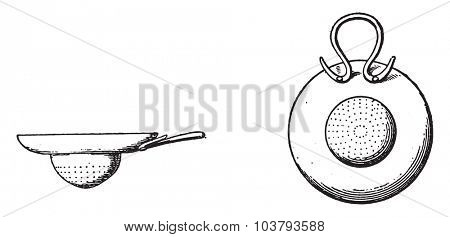 Strainers bronze, vintage engraved illustration.