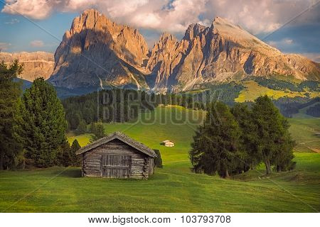 Seiser Alm with Langkofel group, South Tyrol, Dolomites, Italy