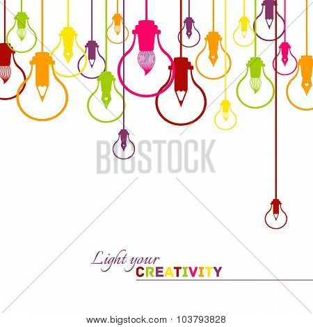 Creative visualisation of light bulbs and graphic design instruments background vector illustration