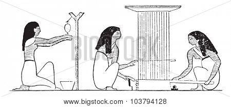 Weaving workshop, vintage engraved illustration.