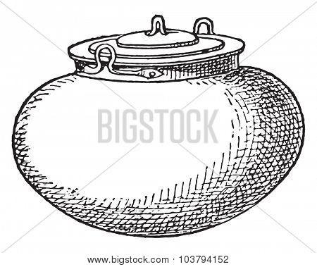 Pot with lid, vintage engraved illustration.