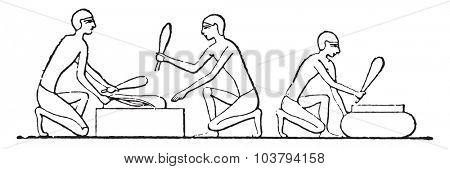 Threshing flax, vintage engraved illustration.
