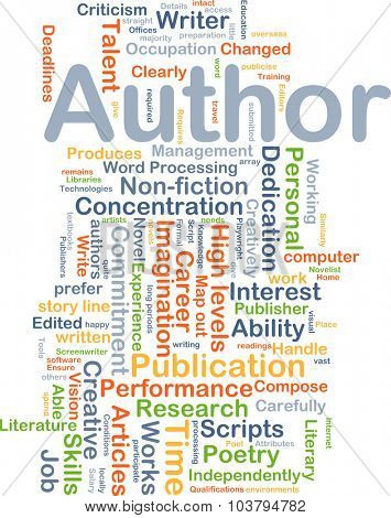 Background concept wordcloud illustration of author