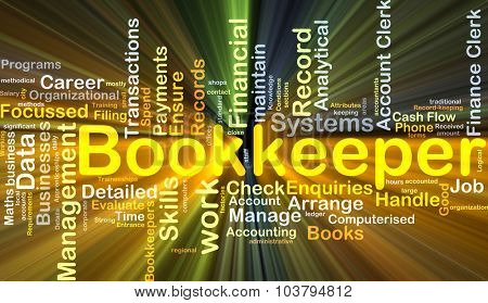 Background concept wordcloud illustration of bookkeeper glowing light