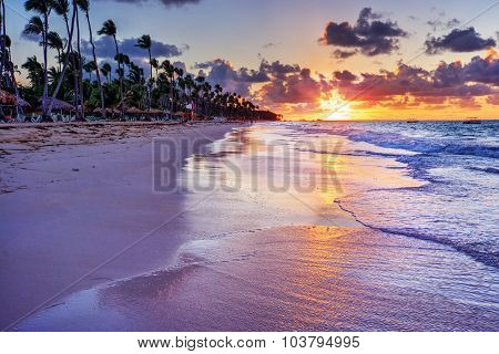 Huts and palm trees by the beach, with an orange sunset 2