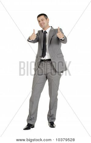 businessman with thumb up isolated on white background