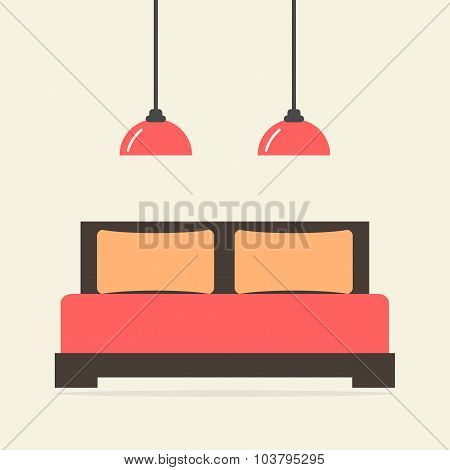 Bed isolated icon. Modern bedroom interior. Wooden furniture.