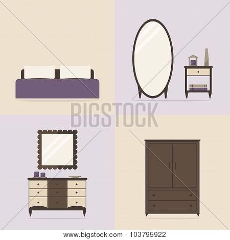 Bedroom set. Bedroom interior set.
