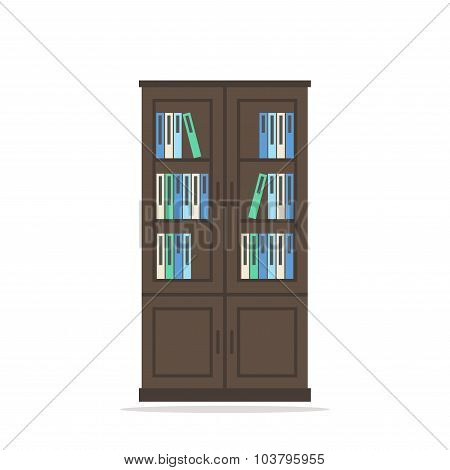 Bookcase. Bookcase isolated icon. Big wooden bookcase with books on white background.