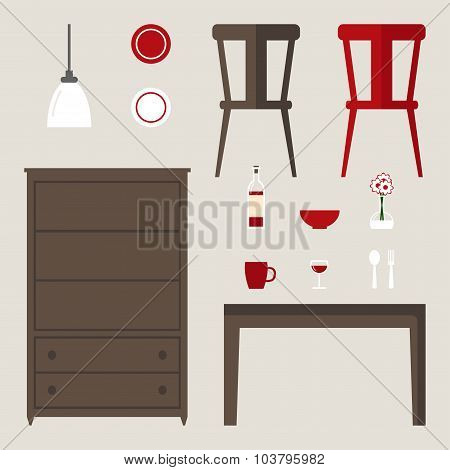 Dining room elements isolated set. Modern furniture: dinner table, cupboard.