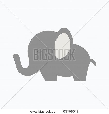 Little baby elephant. Isolated elephant icon on white background.