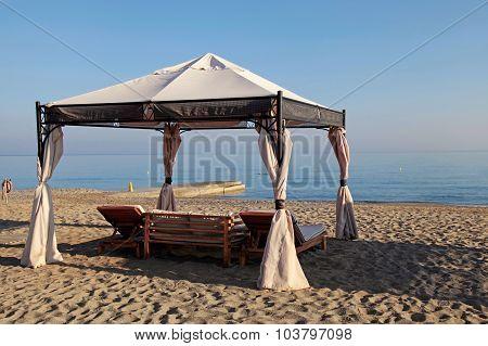 Gazebo Beds On Tropical Sand Summer Beach, Greece