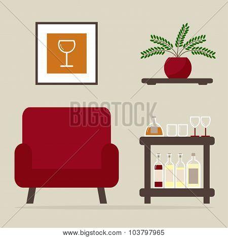 Armchair with home bar.