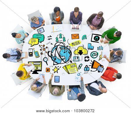 Diversity Casual People Global Media Meeting Teamwork Concept