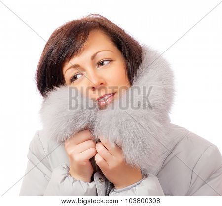 Portrait of smiling woman in fluffy hood