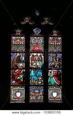 ZAGREB, CROATIA - NOVEMBER 21: Nativity Scene, Adoration of the Magi, stained glass window in parish church of Saint Mark in Zagreb, Croatia on November 21, 2014