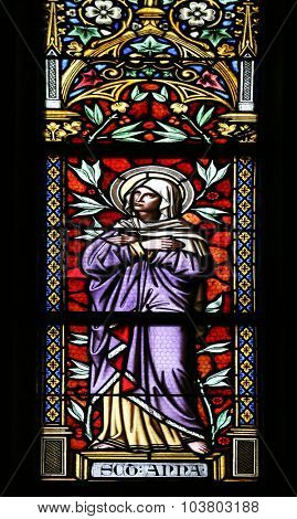ZAGREB, CROATIA - NOVEMBER 21: Saint Ann, stained glass window in parish church of Saint Mark in Zagreb, Croatia on November 21, 2014