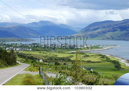 Panorama Of Ullapool In North West Highlands Of Scotland