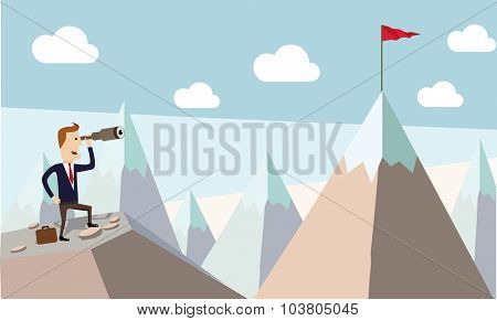 Businessman standing using telescope to see mountain peak. Growing business concept.