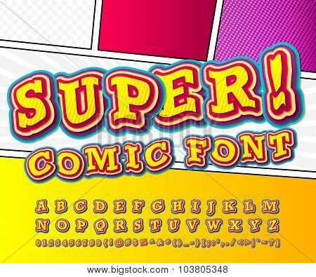Yellow High Detail Comic Font, Alphabet. Comics, Pop Art