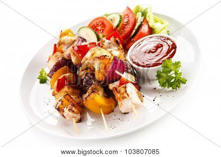Kebabs - grilled meat and vegetables