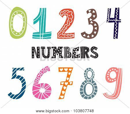 Numbers Set. Collection Of Cute Colorful Numbers