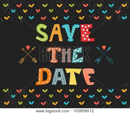 Save The Date Card. Wedding Invitation Card With Cute Background