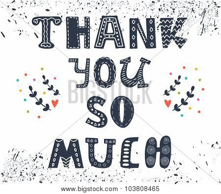 Thank You So Much Postcard. Cute Greeting Card With Design Elements