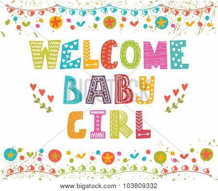Welcome Baby Girl. Baby Girl Arrival Card. Baby Girl Cute Shower Card