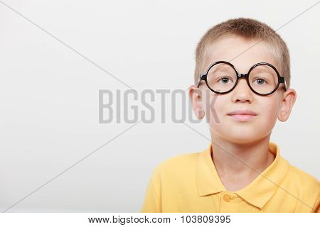 Portrait Of Serious Kid Little Boy In Glasses.
