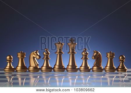 chess pieces on the chess board