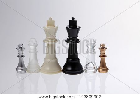 all the kings of chess pieces,side by side