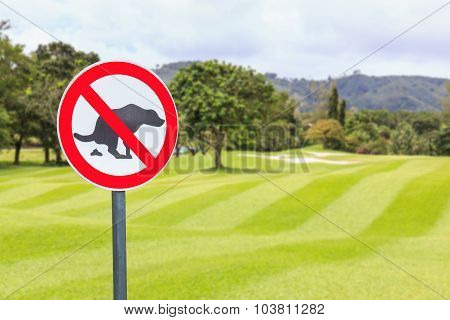 No Dog Pooping Sign Golf Course