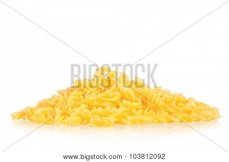 Portion raw pasta isolated on white background
