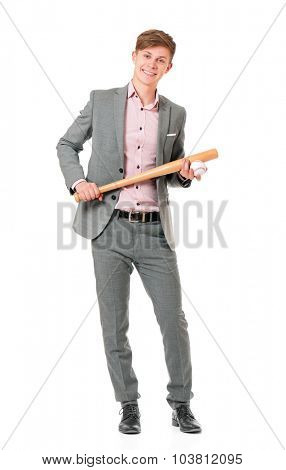 Man with wooden baseball bat and ball, isolated on white background