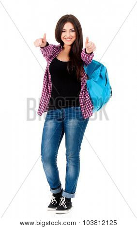 Beautiful student girl with backpack and books, isolated on white background