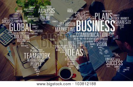 Business Global Teamwork Ideas Success Marketing Analysis Concept