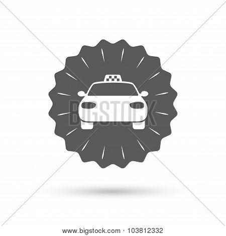 Taxi car sign icon. Public transport symbol.