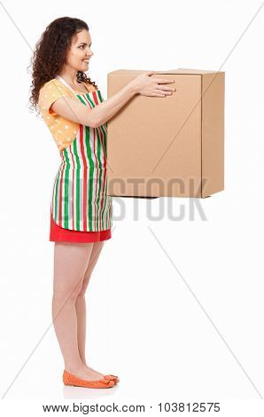 Young housewife with big cardboard box, isolated on white background