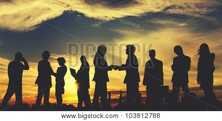 Business People Meeting Discussion Handshake Cityscape Concept