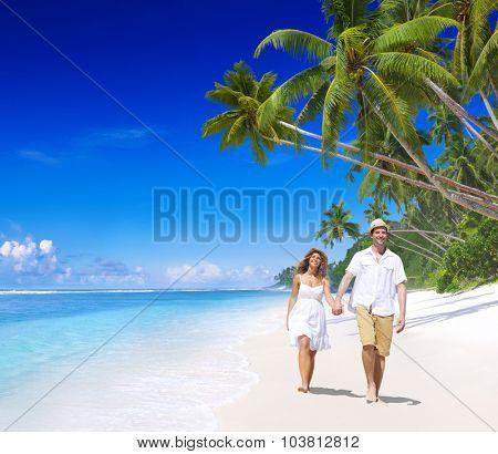 Couple Relaxing Beach Summer Honeymoon Island Concept