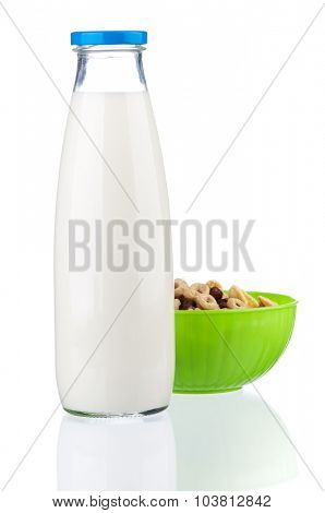 Bottle of milk with tasty cornflakes, isolated on white background