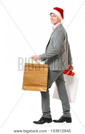 Man with present gift shopping bags, isolated on white background