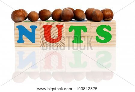 NUTS word formed by wood alphabet blocks with hazelnuts, isolated on white background