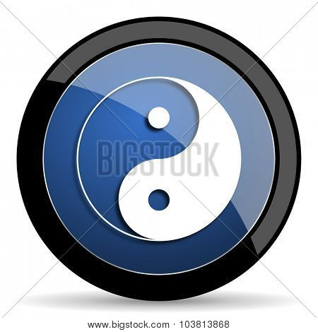 ying yang blue circle glossy web icon on white background, round button for internet and mobile app