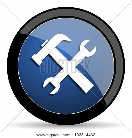 tool blue circle glossy web icon on white background, round button for internet and mobile app