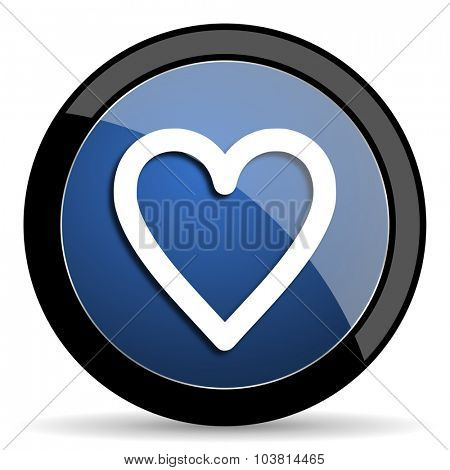 heart blue circle glossy web icon on white background, round button for internet and mobile app