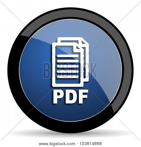 pdf blue circle glossy web icon on white background, round button for internet and mobile app,